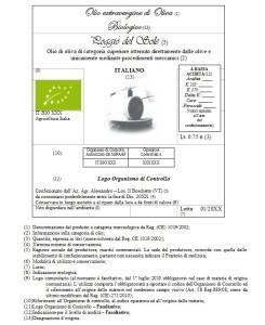 Un esempio di etichetta di olio extravergine di oliva biologico