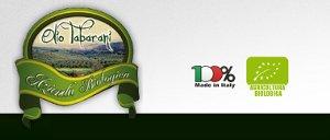 Il logo dell'azienda Tabarani, con il evidenza la certificazione biologica e il marchio 100% Made in Italy