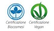 Alcune delle certificazioni dei cosmetici di Arca Botanica