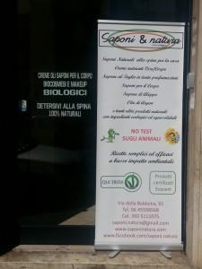 L'ingresso del negozio Saponi e Natura, a Roma