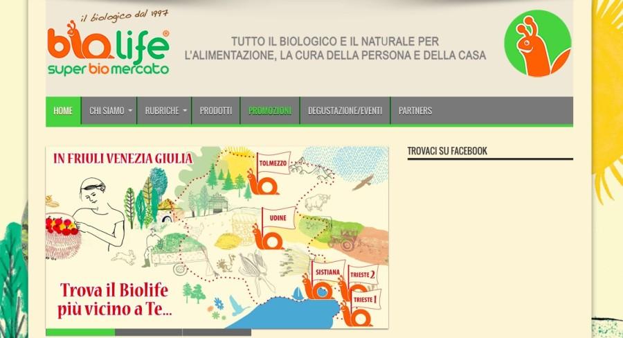 Un'immagine del sito web dei negozi BIOLIFE, sempre aggiornati con le promozioni ed offerte