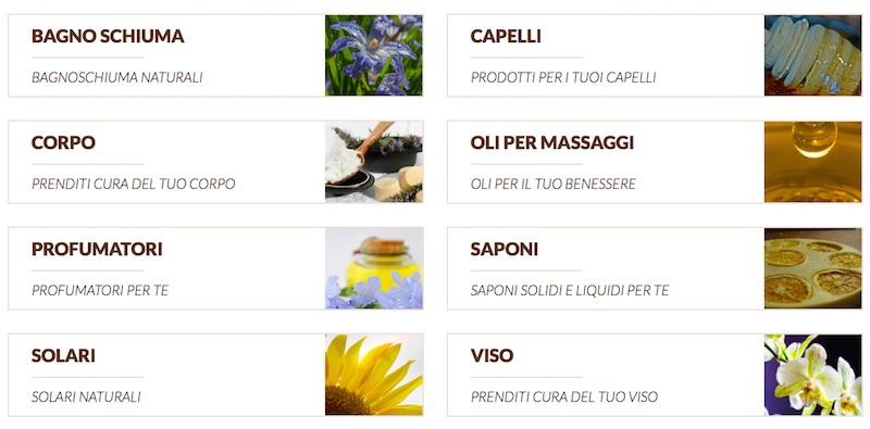 Il negozio offre un vasto assortimento di diverse categorie di prodotti naturali
